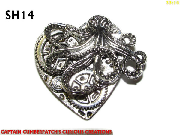 Badge / Brooch, SH14, Silver Heart, Kraken  (38x42mm)