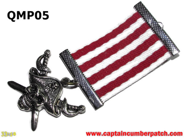 Medal, QMP05, Silver Pirate, Red White, Elementary range - 38-40mm wide ribbon