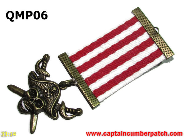 Medal, QMP06, Bronze Pirate, Red White, Elementary range - 38-40mm wide ribbon