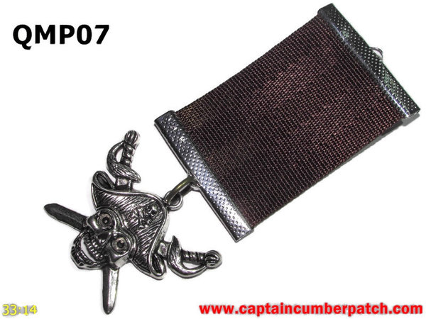Medal, QMP07, Silver Pirate, Brown, Elementary range - 38-40mm wide ribbon